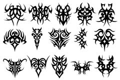 Set of Tattoo. On white background Stock Photo