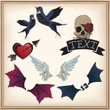Set of tattoos. Set of retro styled tattoos Royalty Free Stock Images