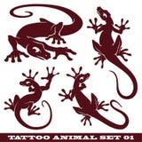 set tatuering för gekko Fotografering för Bildbyråer