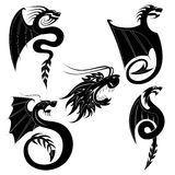 set tatuering för svart drake stock illustrationer