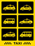 Set of taxi car icon on black buttons Stock Photography