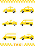 Set of taxi car and stripe Royalty Free Stock Photography