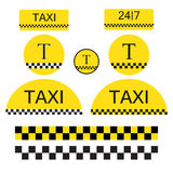 Set of Taxi objects and symbols Stock Photography