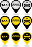 Set of taxi pins. Set of colorful taxi pins with car silhouettes Royalty Free Stock Images