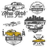 Set taxi samochód dla emblematów, loga i projekta, Zdjęcie Stock
