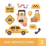 Set of taxi service flat icons. Car, luggage, taximeter, smartphone. Set of taxi service flat icons. Car, luggage, taximeter, mobile app Royalty Free Stock Photos