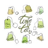 A set of tea bags and lettering vector illustration