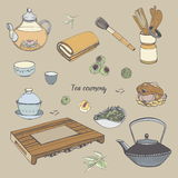 Set tea ceremony with various traditional tools. Teapot, bowls, gaiwan. Colorful hand drawn illustration. Royalty Free Stock Photography
