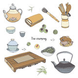 Set tea ceremony with various traditional tools. Teapot, bowls, gaiwan. Colorful hand drawn illustration. Royalty Free Stock Image