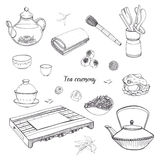 Set tea ceremony with various traditional tools. Teapot, bowls, gaiwan. Contour hand drawn illustration. Royalty Free Stock Photography