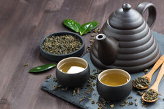 Set for tea ceremony on a wooden table Royalty Free Stock Photos