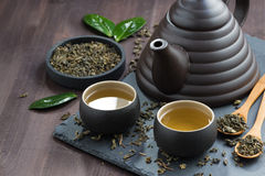 Set for tea ceremony on a wooden table, top view Royalty Free Stock Images