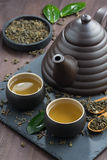 Set for tea ceremony on a wooden table, vertical Stock Photos