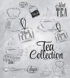 Set of tea collection. Coal. Set of tea collection with a tea cup and tea bags in vintage style stylized drawing with coal on blackboard Stock Images