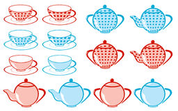 Set of tea cup, teakettle royalty free stock photos