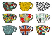 Set of tea cups with different patterns. Vector illustration Stock Photo