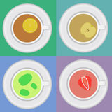 Set of tea cups with mint, lemon, apple. Set of tea cups with mint, lemon, strawberry and apple. Retro tea cups Royalty Free Stock Photography