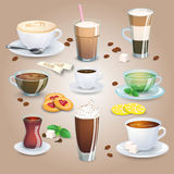 Set of tea drinks, sweets and bakery products. Royalty Free Stock Photography