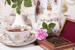 set tea för antikvitet Arkivbild