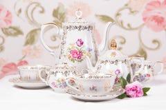 set tea för antikvitet Arkivfoton