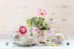 set tea för antikvitet Arkivfoto