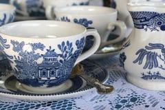 set tea för blått porslin Royaltyfri Bild