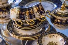 set tea för blue koppar Royaltyfri Bild