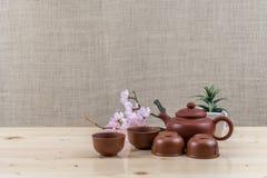 set tea för brun dishware 3d Royaltyfria Foton