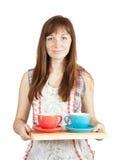 set tea för koppflicka Arkivfoton