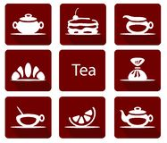 Set of tea icons with candy lemon cake croissant stock illustration