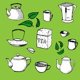 Set - tea, kettle, cup elements for design. Vector hand drawn set - tea, kettle, cup elements for your design Royalty Free Stock Image