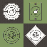 Set of tea logo, badges, banners, emblem for tea shop in linear style with leaf seamless pattern background. Organic tea package. Stock Photo