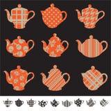 Set with tea pot silhouettes Stock Photo