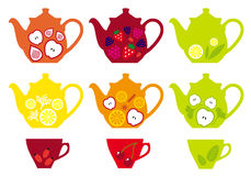 Tea pots and cups with fruits, vector Stock Image
