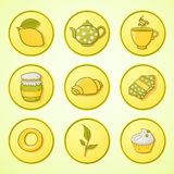 Set tea and sweets round icons Stock Photo