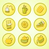 Set tea and sweets round icons Royalty Free Stock Photography