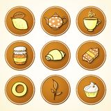 Set tea and sweets round icons Royalty Free Stock Images