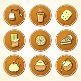 Set tea and sweets round icons Stock Image