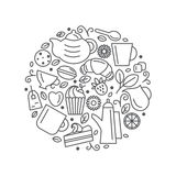 Set of tea theme. Line art draw icons in the circle. Royalty Free Stock Photo