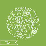 Set of tea theme. Line art draw icons in the circle. Stock Image