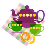 Set of the tea things. Vector illustration of a  set of the tea things Royalty Free Stock Photo