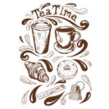 Set tea time. Set of cup and saucer, cup of takeaway coffee, tea bag, krousan, donut with icing sugar and a bag of tea time lettering in a retro style Stock Images