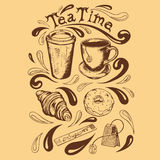 Set tea time. Set of cup and saucer, cup of takeaway coffee, tea bag, krousan, donut with icing sugar and a bag of tea time lettering in a retro style Royalty Free Stock Image