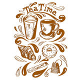Set tea time. Set of cup and saucer, cup of takeaway coffee, tea bag, krousan, donut with icing sugar and a bag of tea time lettering in a retro style Royalty Free Stock Photos