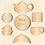 Set of tea time. Effect of the shadow. Paper figures Stock Image