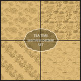 Set Tea Time seamless pattern of the doodle  leaves, cups. Vector set Tea Time seamless pattern of the doodle various leaves, cups. Dark brown line on light Royalty Free Stock Images