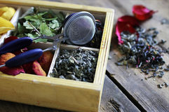 Set tea wooden box rose Royalty Free Stock Photography