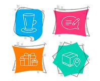 Teacup, Holiday presents and Message icons. Parcel tracking sign. Tea or latte, Gift boxes, Speech bubble. Set of Teacup, Holiday presents and Message icons vector illustration