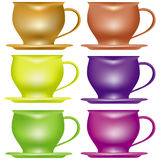 Set of teacups. Set of six colored teacups Stock Photography
