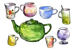 Set of teacups and teapot. Set of  teacups and teapot drawing by ink and watercolor, hand drawn artistic painting illustration Stock Images